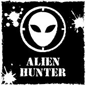 Vector alien hunter logo on black background