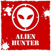 Vector alien hunter logo on red background