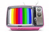 Pink Vintage Tv On  White Background