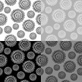 Black And White Ethnic Seamless Pattern With Circular Shapes