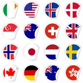 Curled Corner Stickers Set With Flags Of The Most Developed Countries In The World