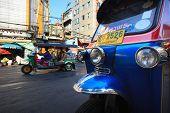Thailand,bangkok-feb 24:tuktuk Parking In Yaowarat Road Main Street In Chinatown,one Of Bangkok Land
