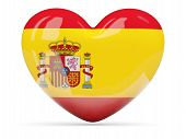 Heart Shaped Icon With Flag Of Spain