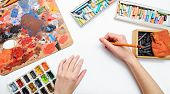 Artist's hand draw watercolor