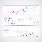 Colorful Collection horizontal banners Molecule and communication. Vector illustration