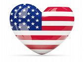 Heart Shaped Icon With Flag Of United States Of America