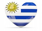 Heart Shaped Icon With Flag Of Uruguay