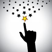 image of hope  - vector icon of hand reaching for stars  - JPG
