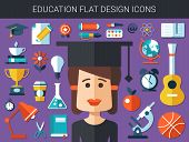 Set of modern education flat design icons