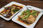 Stir fried fish with chinese celery