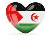 Heart Shaped Icon With Flag Of Western Sahara