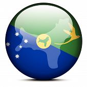 Map On Flag Button Of Christmas Island