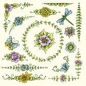 Vintage decorative elements color