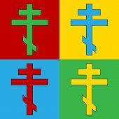 Pop Art Religious Orthodox Cross Symbol Icons.