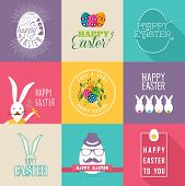 Happy Easter Flat Design Labels Set