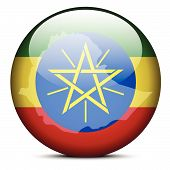 Map On Flag Button Of Federal Democratic Republic Of Ethiopia