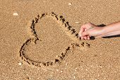Heart Drawn In The Sand Stick
