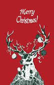 Christmas Holiday Deer Holding Champagne Glasses Vector