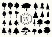 Tree Shapes Icon Set Isolated Illustration