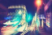 Retro Filtered City Traffic Lights In Motion Blur.