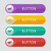 Vector flat buttons with paper plane icon