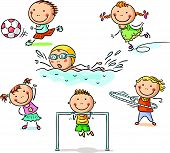 picture of physical education  - Little kids and their sports activities - JPG