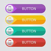 Vector flat buttons with smartphone icon