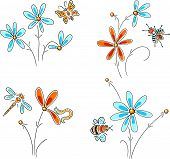 picture of insect  - Hand drawn flowers with insects - JPG