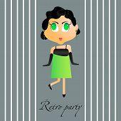 Vector retro party girl