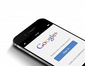 Gdansk, Poland -june 1, 2015: White Mobile Phone With Google Plus Log In Appliccation Isolated Over