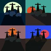Set of stylized landscapes with three crosses