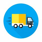 Fast Shipping Flat Circle Icon