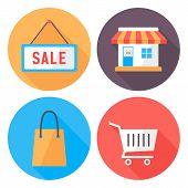 Shopping Flat Circle Icons Set