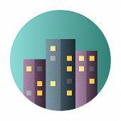 Urban City Flat Circle Icon