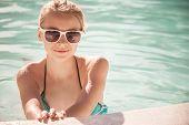 Little Blond Girl With Sunglasses, Closeup Portrait