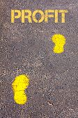 Yellow Footsteps On Sidewalk Towards Profit Message