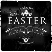 Happy Easter Typographical cacharol black vintage Background