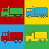 Pop Art Cargo Car Symbol Icons.