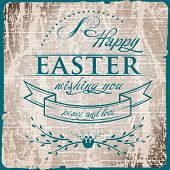 Happy Easter Typographical on vintage old  wood  Background
