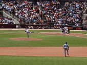Cubs Randy Wells Throws Pitch To Giants Pat Burrell With Shortstop In View