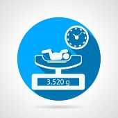 Newborn weighing blue vector icon