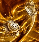 picture of cosmic  - Abstract Fractal background cosmic light spheres planet in gold colors for screen mobile telephone tablet monitor - JPG