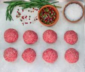image of meatball  - Cooking meatballs of ground beef with spices - JPG