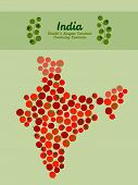 image of tomato plant  - Map of India made out of red tomatoes - JPG