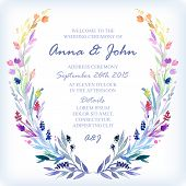 picture of life event  - Wedding invitation design template with watercolor floral frame - JPG