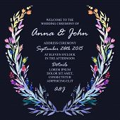 stock photo of life event  - Wedding invitation design template with watercolor floral frame - JPG