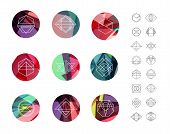 stock photo of color geometric shape  - Set of colored crystal circles in polygon style with geometric shapes - JPG
