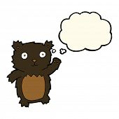 picture of bear cub  - cartoon waving black bear cub with thought bubble - JPG