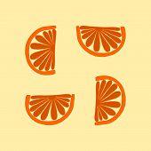 foto of mandarin orange  - Simple orange cartoon stylized tileable mandarin pattern on bright background - JPG