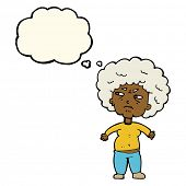 picture of annoyance  - cartoon annoyed old woman with thought bubble - JPG